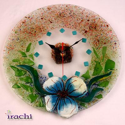 ساعت شیشه ای با تکنیک همجوشی طرح گل و تکه های شیشه - C 10