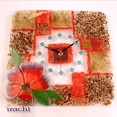 ساعت مربع با طرح گل برجسته و خرده های شیشه - C 03