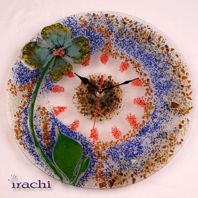 ساعت فیوز گلاس با طرح گل برجسته و خرده شیشه - C12